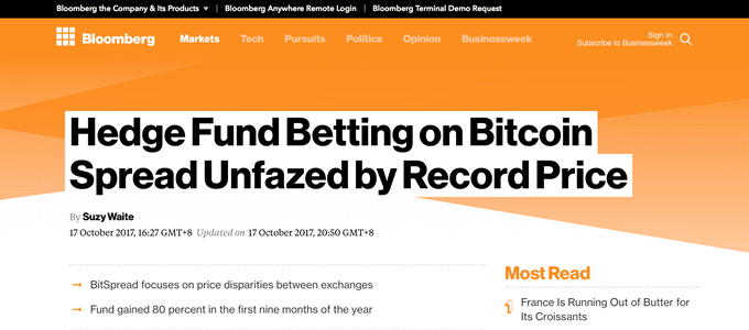 Bloomberg interviews BitSpread: Breaking away from the mould of crypto funds